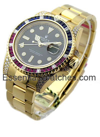 Rolex Unworn GMT Master II in Yellow Gold with Diamond Lugs and Bezel