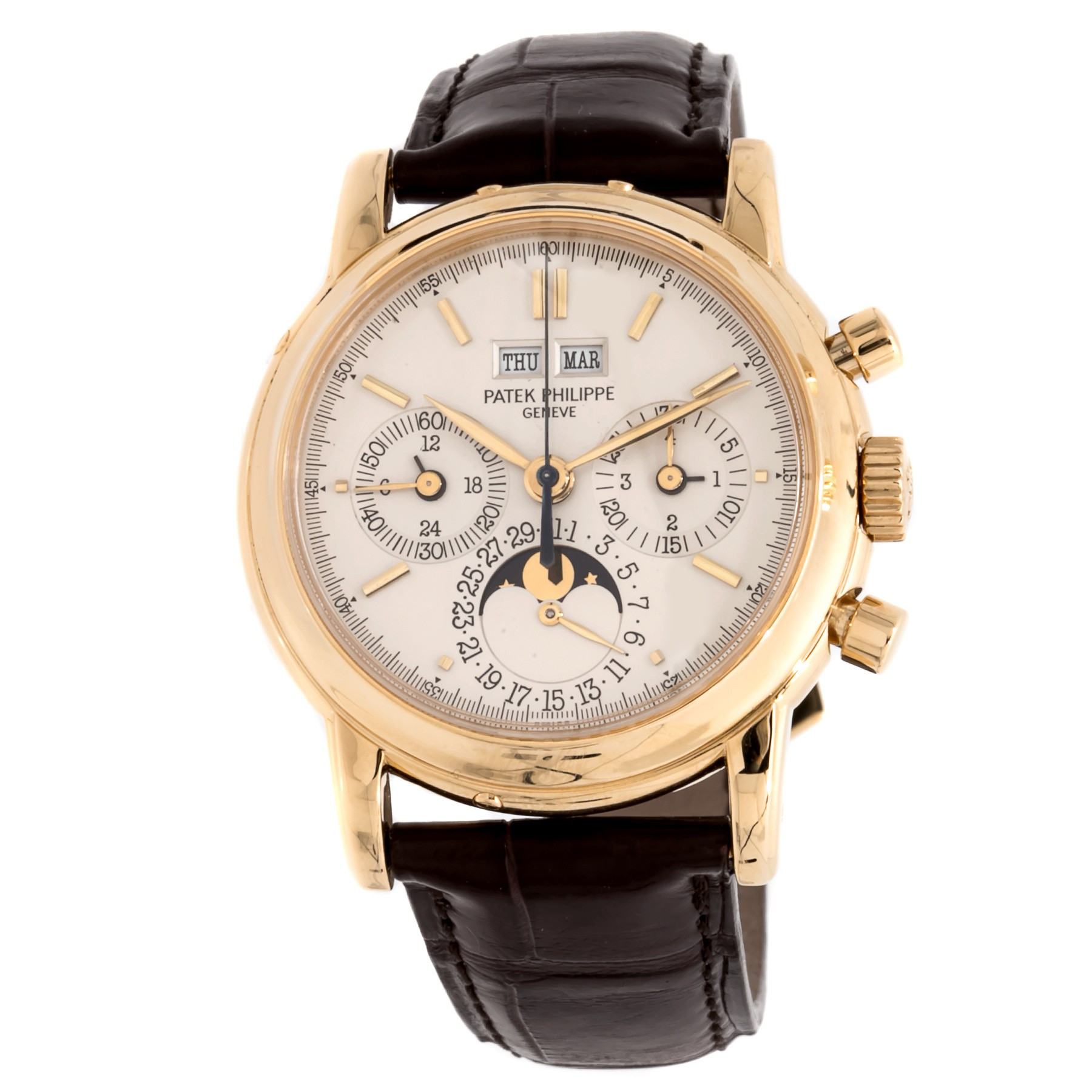 Patek Philippe Perpetual Calendar Chronograph Ref 3970EJ in Yellow Gold   Second Series