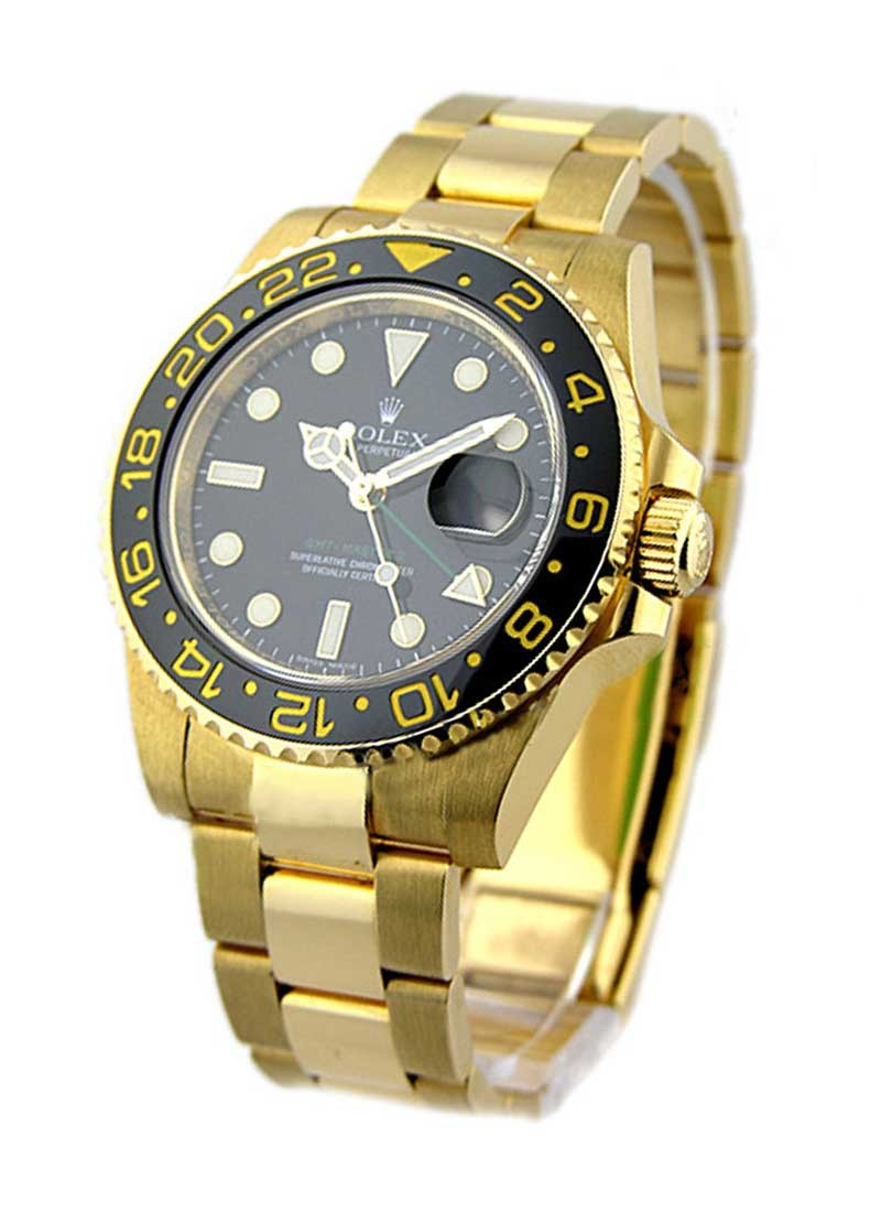 Rolex Unworn GMT Master II in Yellow Gold with Black Ceramic Bezel