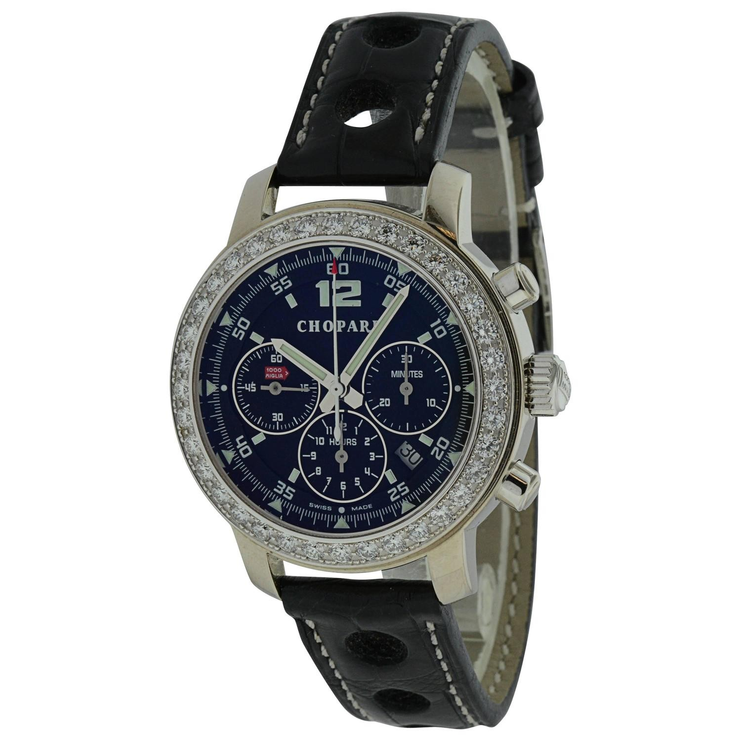 Chopard Mille Miglia Chronograph in White Gold with Diamond Bezel