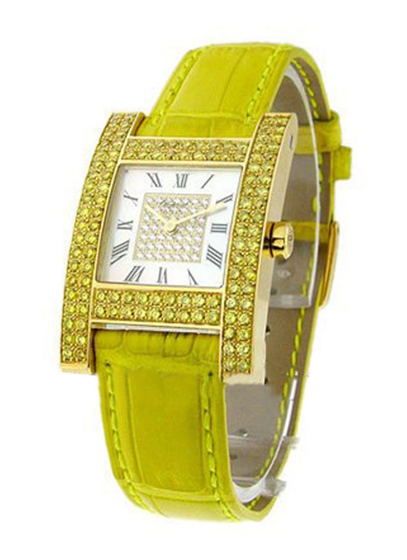 Chopard H Watch in Yellow Gold Diamond Case