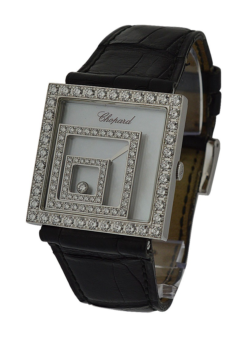 Chopard Happy Spirit Square in White Gold with Diamond Bezel