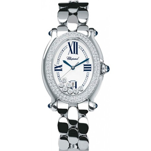 Chopard Happy Sport Oval in Steel with 2-Row Diamond Bezel
