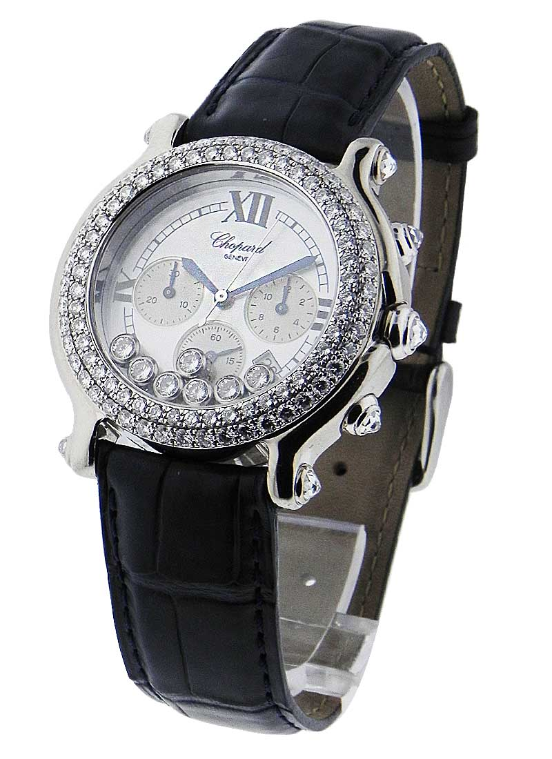 Chopard Happy Sport Round Chronograph in White Gold with 2-Diamond Bezel