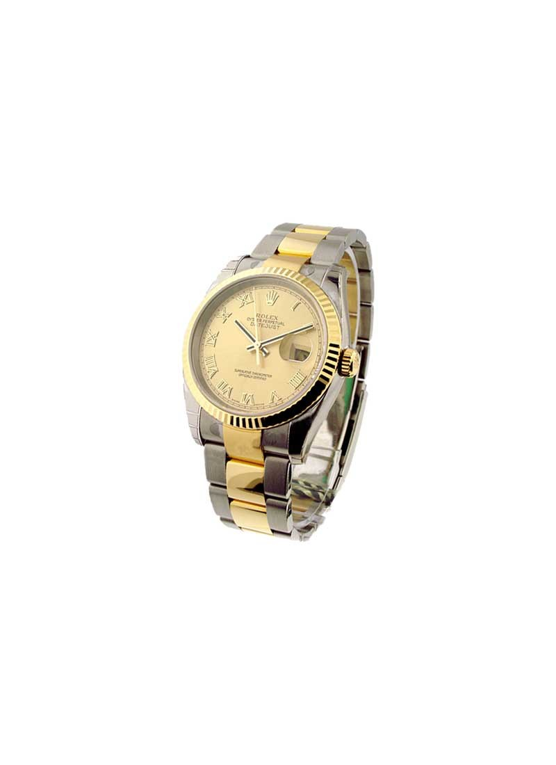 Rolex Unworn Datejust 36mm in Steel with Yellow Gold Fluted Bezel