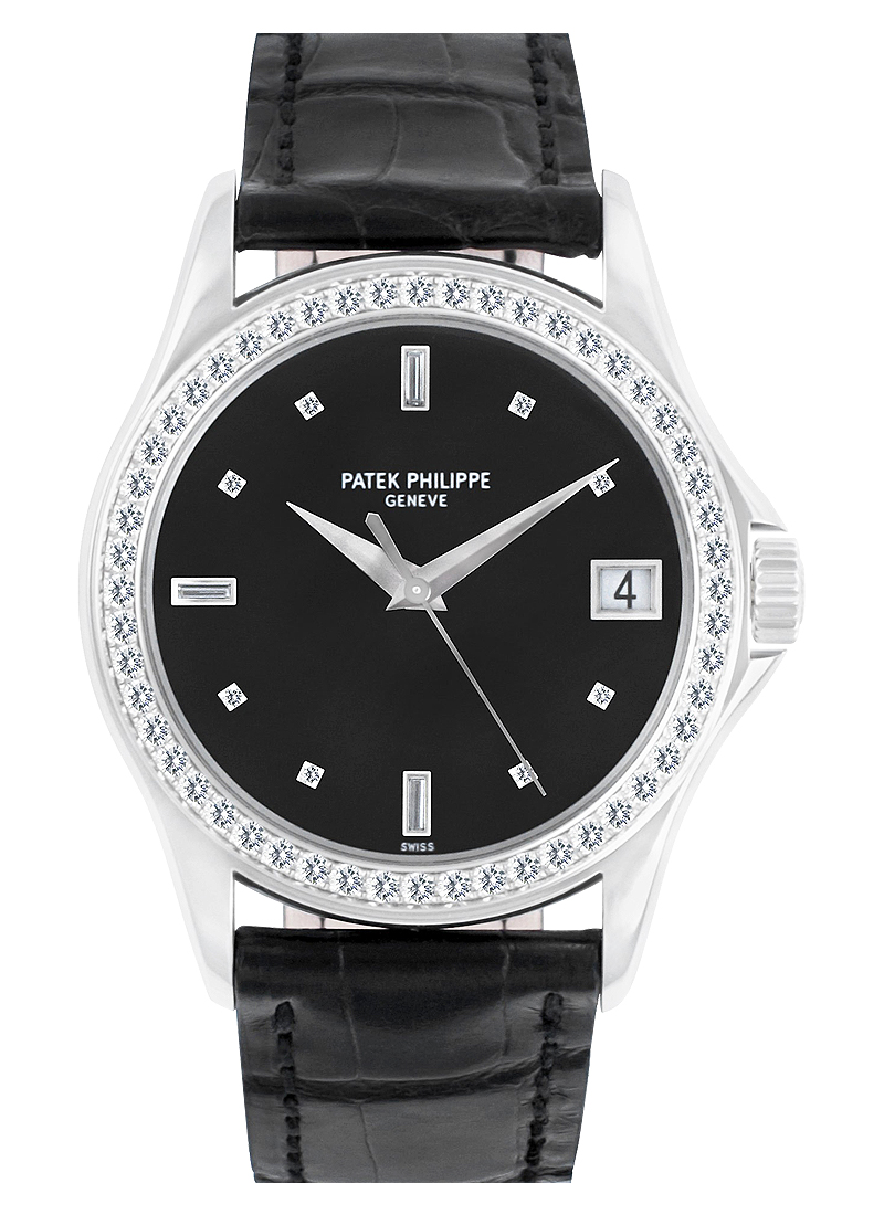 Patek Philippe 5108G Calatrava 37mm Automatic in White Gold with Diamond Bezel