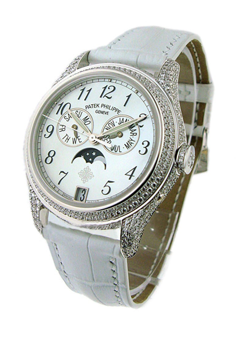 Patek Philippe Ref 4937G Annual Calendar in White Gold with Diamond Bezel