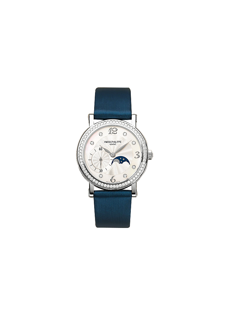 Patek Philippe 4958 Lady's Calatrava with Moon Phase 31mm in White Gold with Diamond Bezel