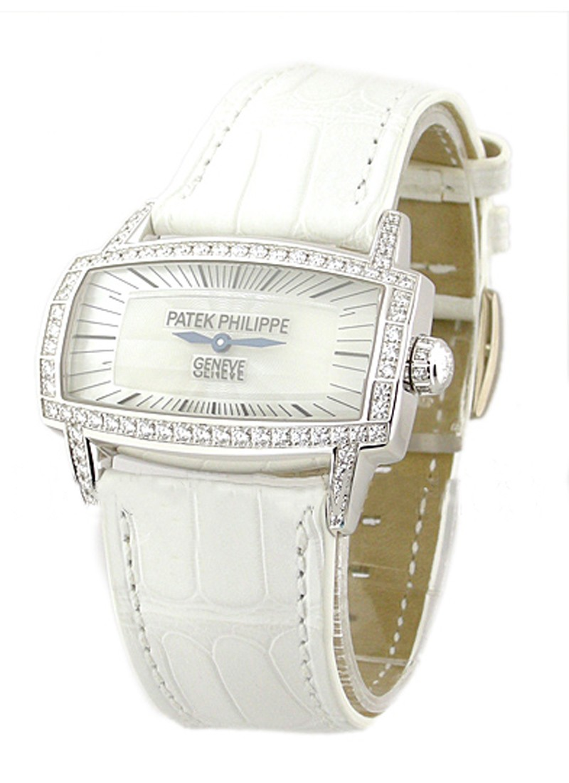 Patek Philippe 4981G - Lady's Gondolo in White Gold with Diamond Bezel