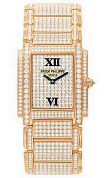 Patek Philippe Twenty-4 with Full Pave Diamonds in 22mm Quartz in Rose Gold with Diamonds Bezel