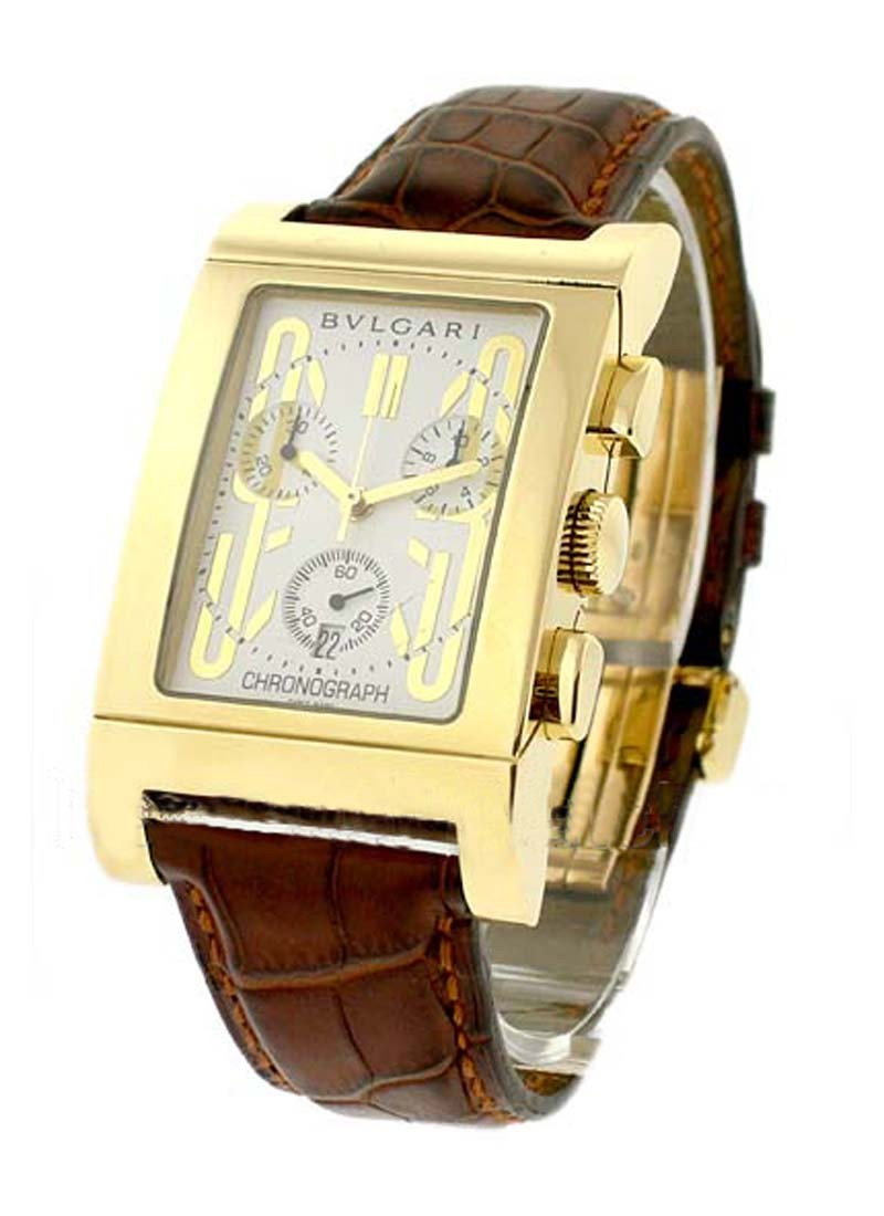 Bvlgari Rettangolo Chronograph 49mm in Yellow Gold