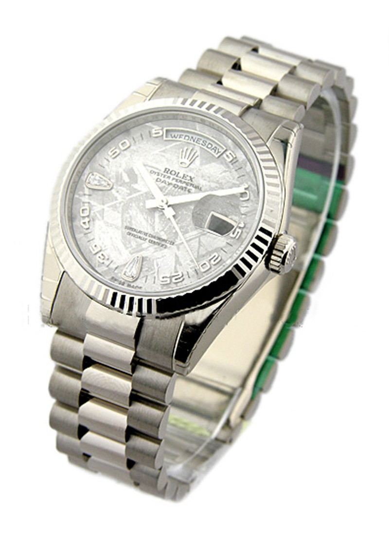 Rolex Unworn Men's Day - Date President in White Gold - Fluted Bezel