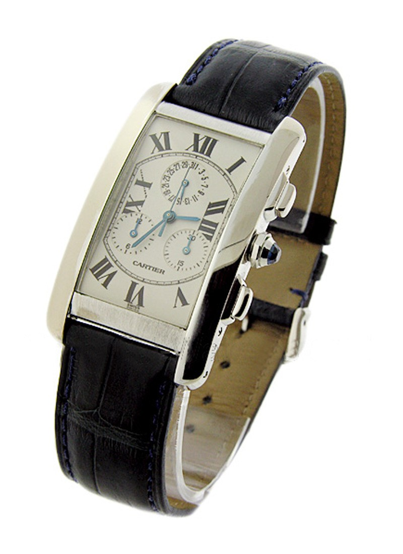 Cartier Tank Americaine White Gold Chronoflex Chronograph