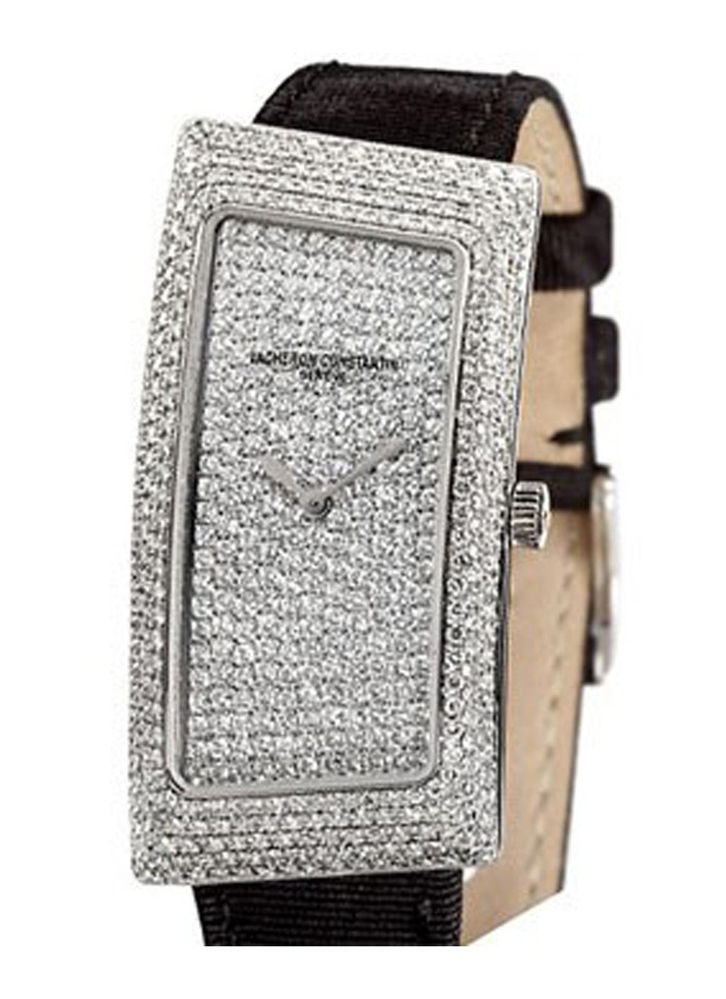 Vacheron Constantin 1972 Grand Curve Paved in White Gold with Pave Diamond Bezel