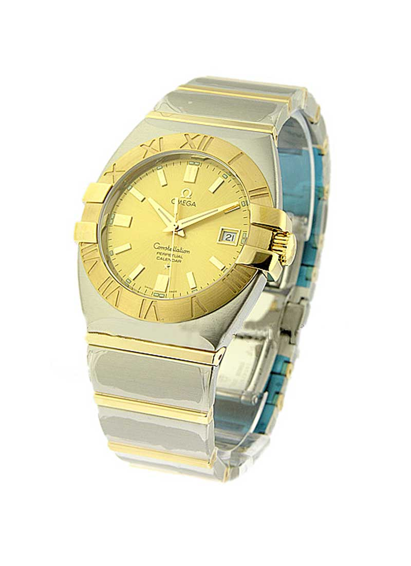 Omega Double Eagle Perpetual Calendar 35mm Automatic in Steel with Yellow Gold Bezel