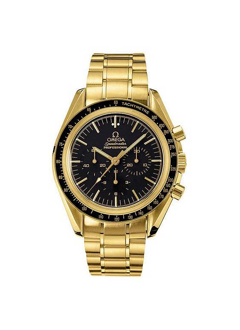 Omega Speedmaster Professional 42mm in Yellow Gold with Black Tachymetre Bezel