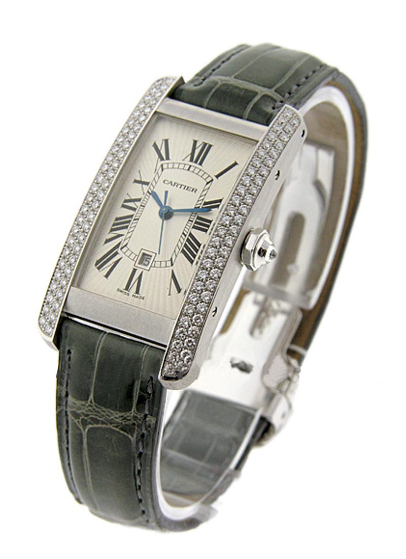 Cartier Tank Americain Midsize in White Gold with Diamond Bezel