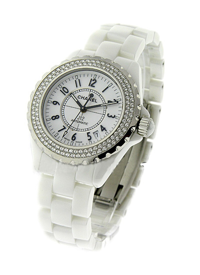 Chanel Full Size White J12 White Ceramic with Diamond Bezel