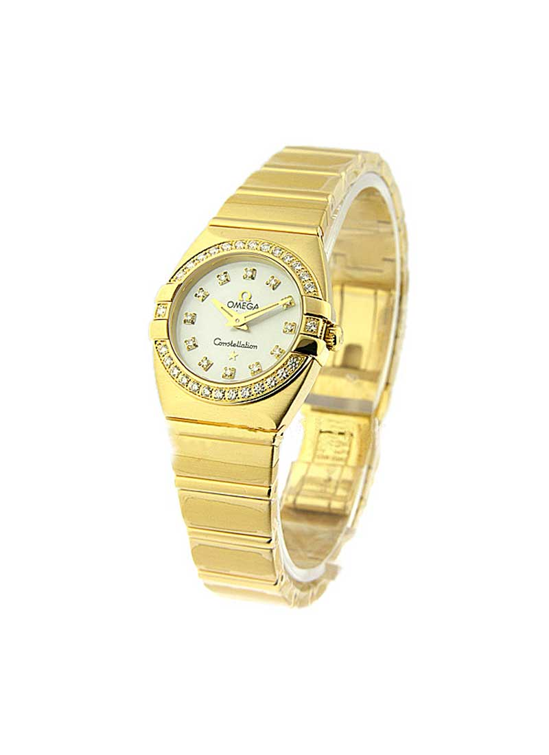 Omega Double Eagle Quartz in Yellow Gold with Diamonds Bezel