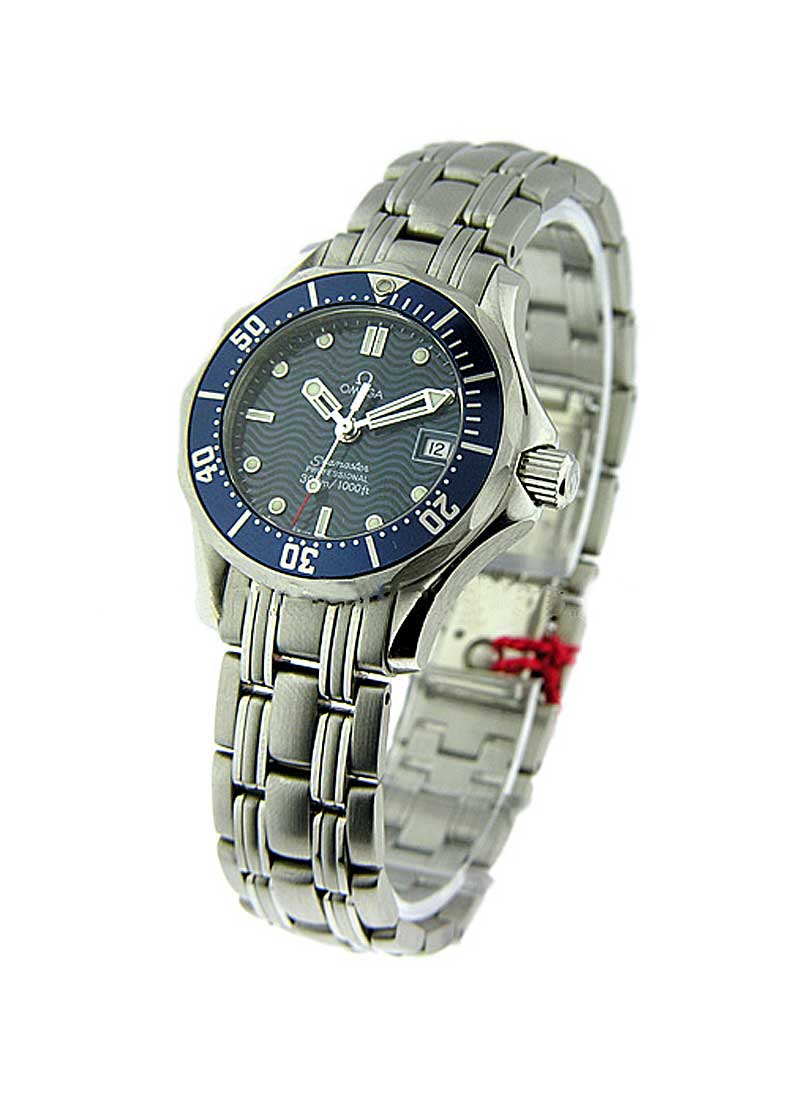Omega Seamaster 300m Chronometer 28mm Quartz in Steel with Blue Bezel