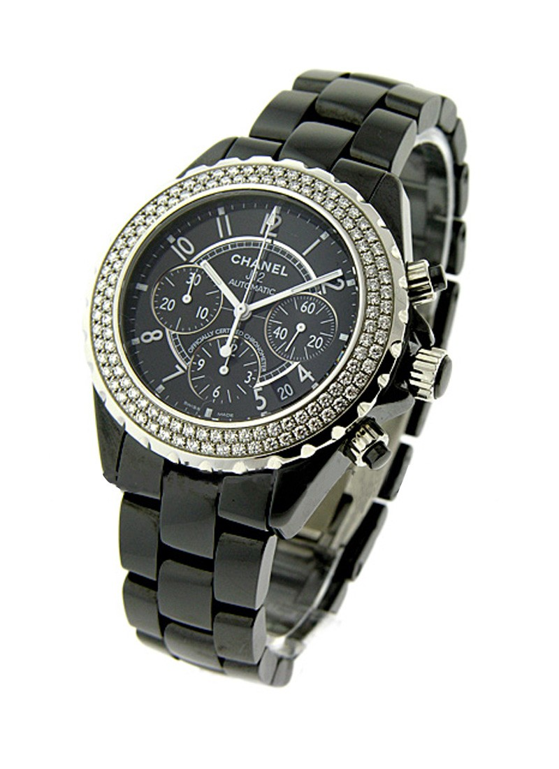 Chanel J12 Black Chronograph in Black Ceramic with Diamond Bezel