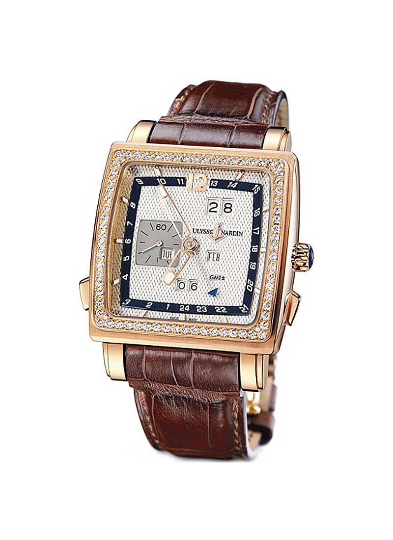 Ulysse Nardin Quadrato Dual Time Perpetual in Rose Gold with Diamond Bezel