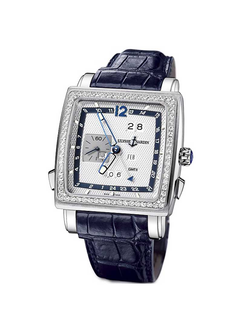 Ulysse Nardin Quadrato Dual Time Perpetual in White Gold with Diamond Bezel