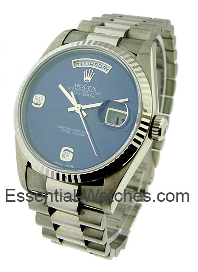 Pre-Owned Rolex White Gold Men's in White Gold with Fluted Bezel -circa 2001