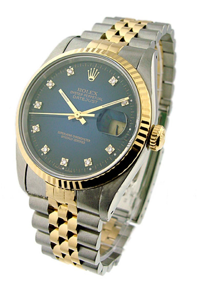 Rolex Used Datejust 36mm in Steel with Yellow Gold Fluted Bezel
