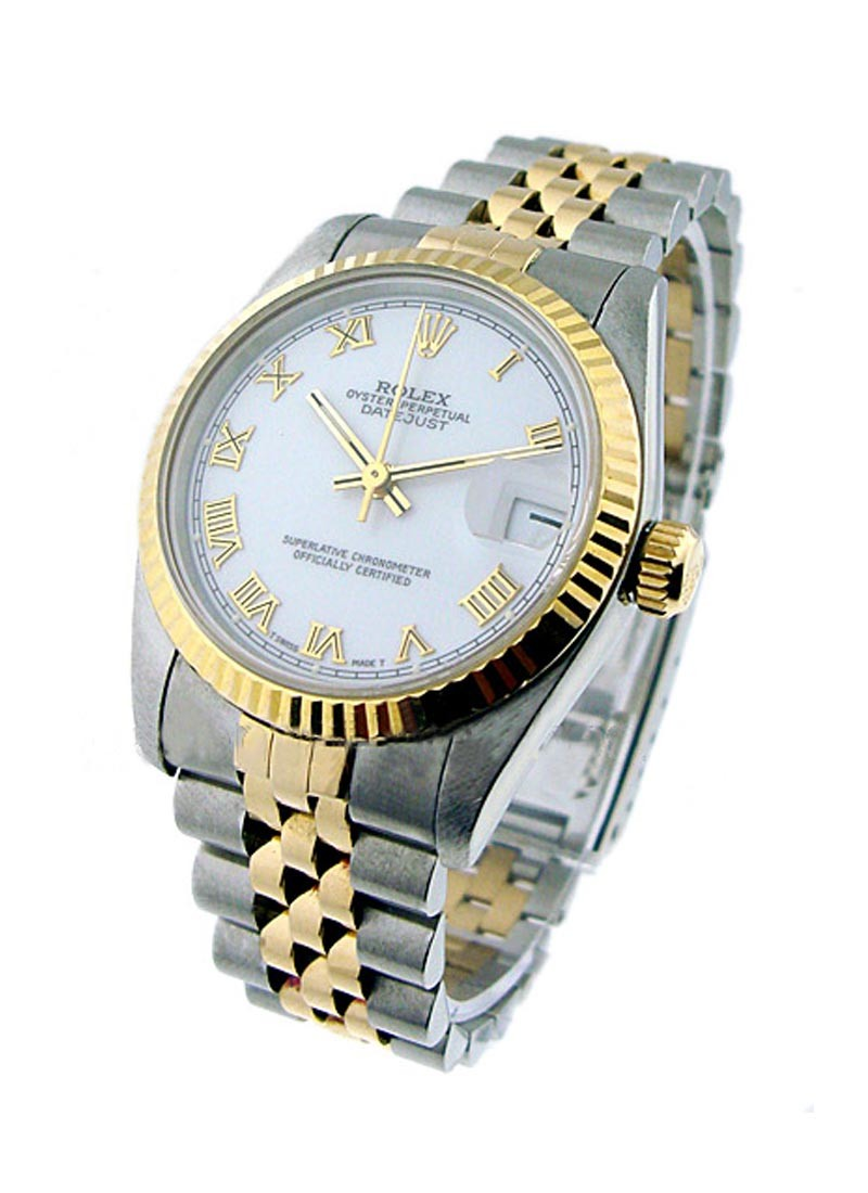 Rolex Used Mid Size Datejust in Steel with Yellow Gold Fluted Bezel