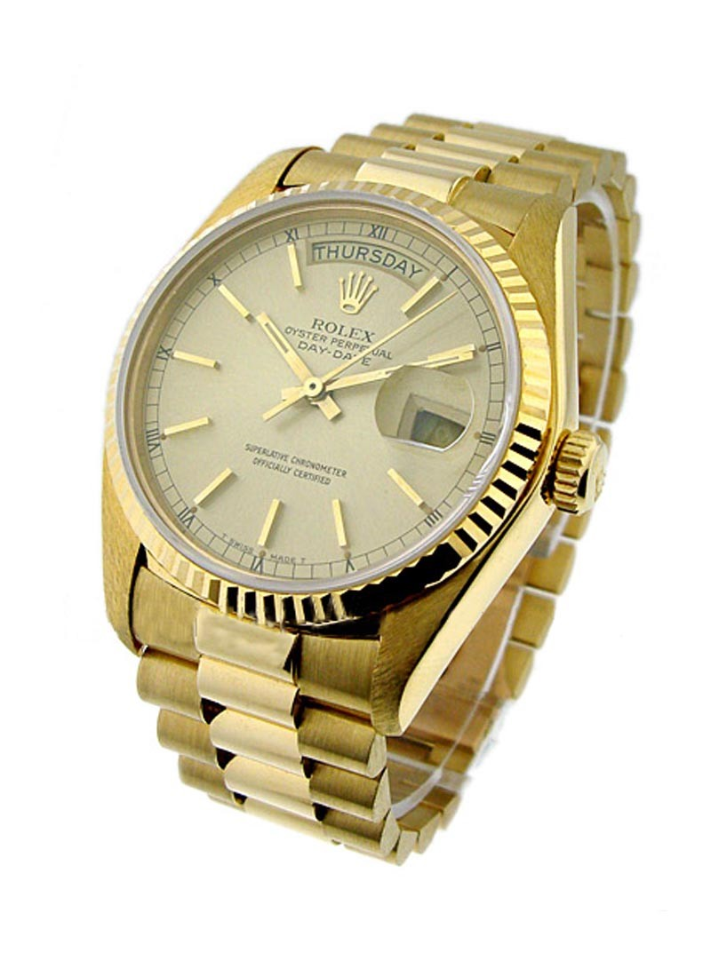 Rolex Used Day Date Single Quick President in Yellow Gold with Fluted Bezel