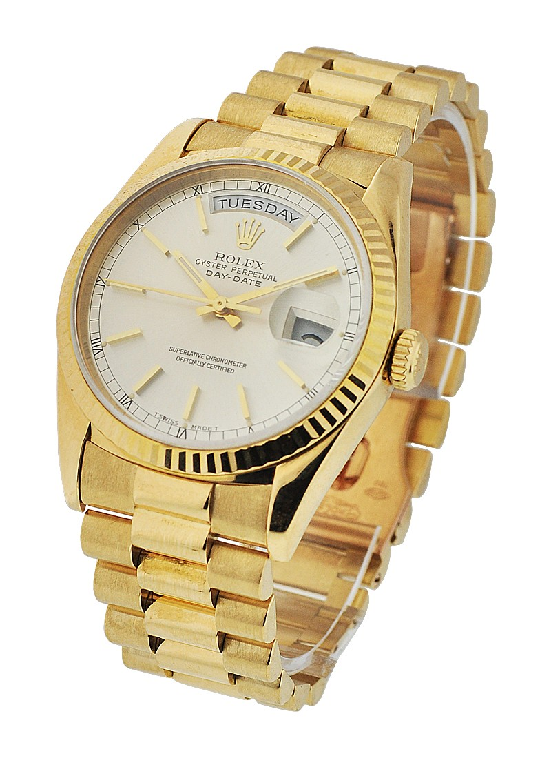 Rolex Used Day-Date - President - Yellow Gold - Fluted Bezel