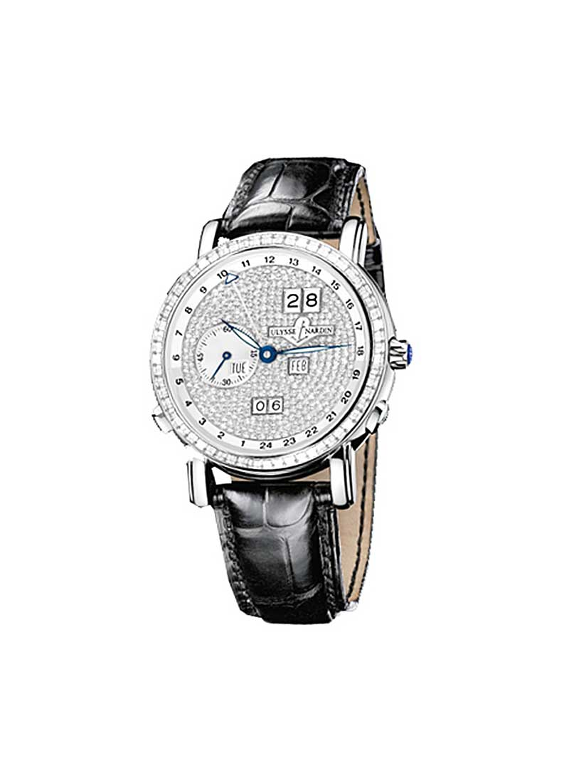 Ulysse Nardin GMT Perpetual 40mm in White Gold with Diamond Bezel