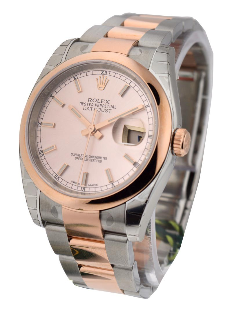 Rolex Unworn Men's 2 Tone Rose Gold Datejust with Smooth Bezel