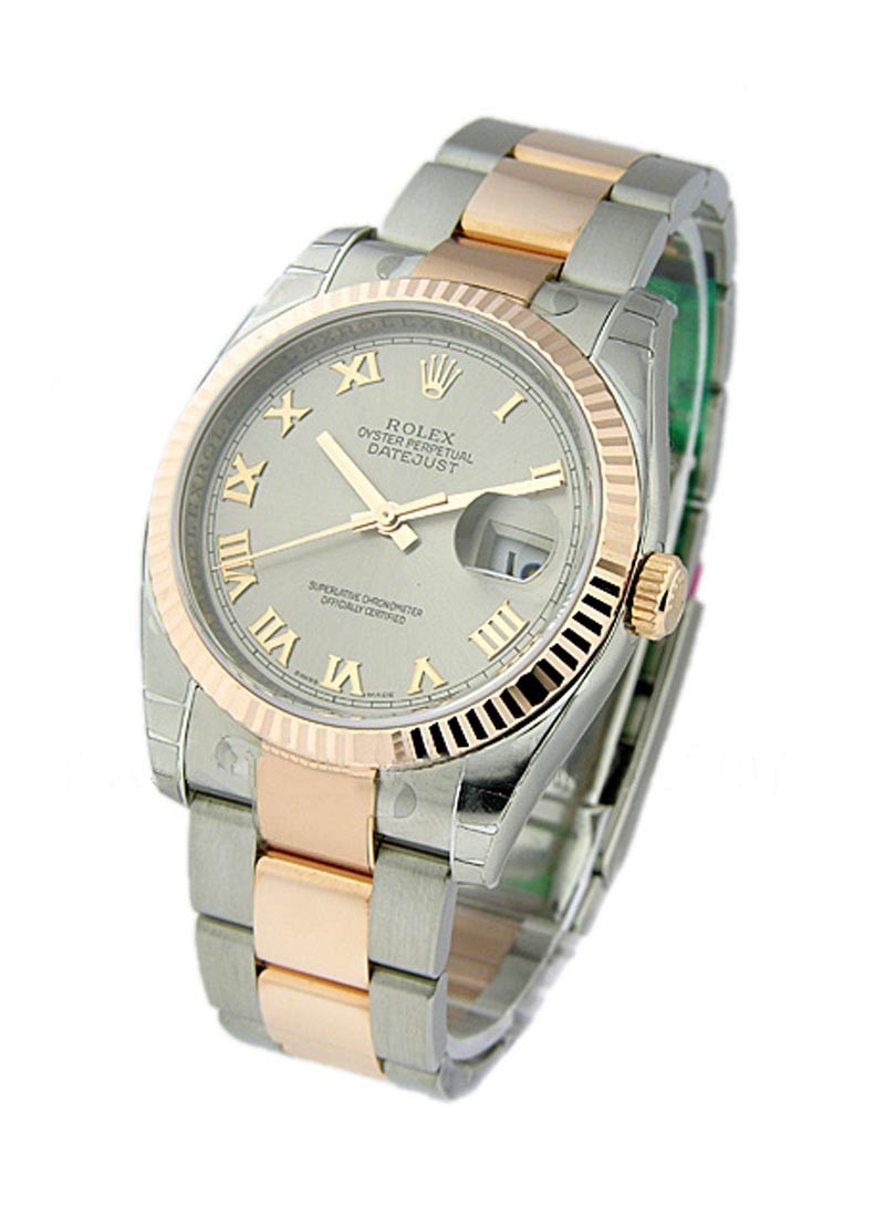 Rolex Unworn Men's 2 Tone Rose Gold Datejust with Fluted  Bezel