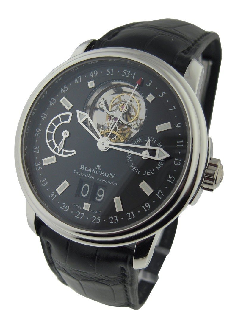 Blancpain Leman Tourbillon with Big Date 40mm Automatic in Platinium  (Limited Edition)