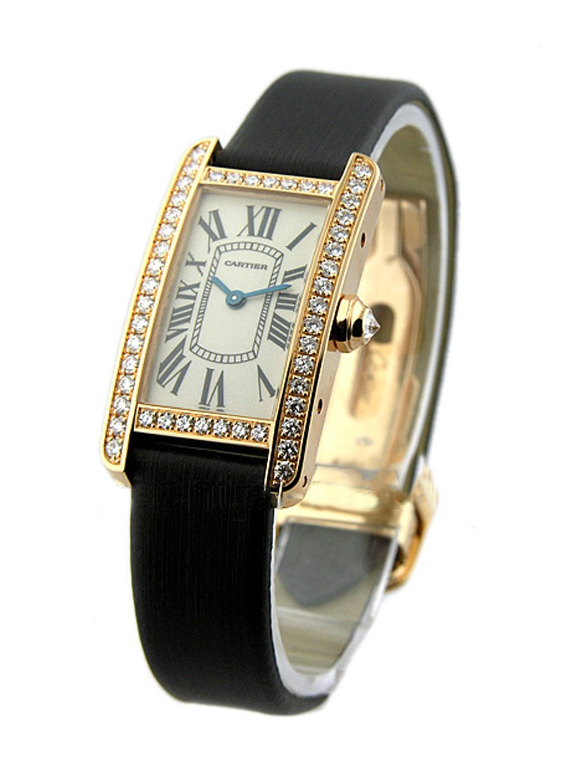 Cartier Ladys Size - Tank Americaine with Diamond Case