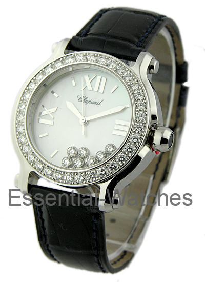 Chopard Happy Sport Round Large Size in Steel with Diamond Bezel