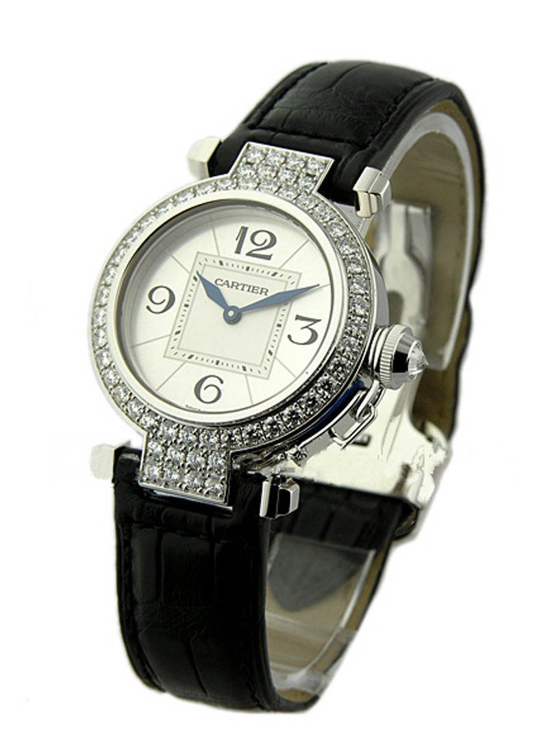 Cartier Pasha 32mm in White Gold with Diamond Bezel