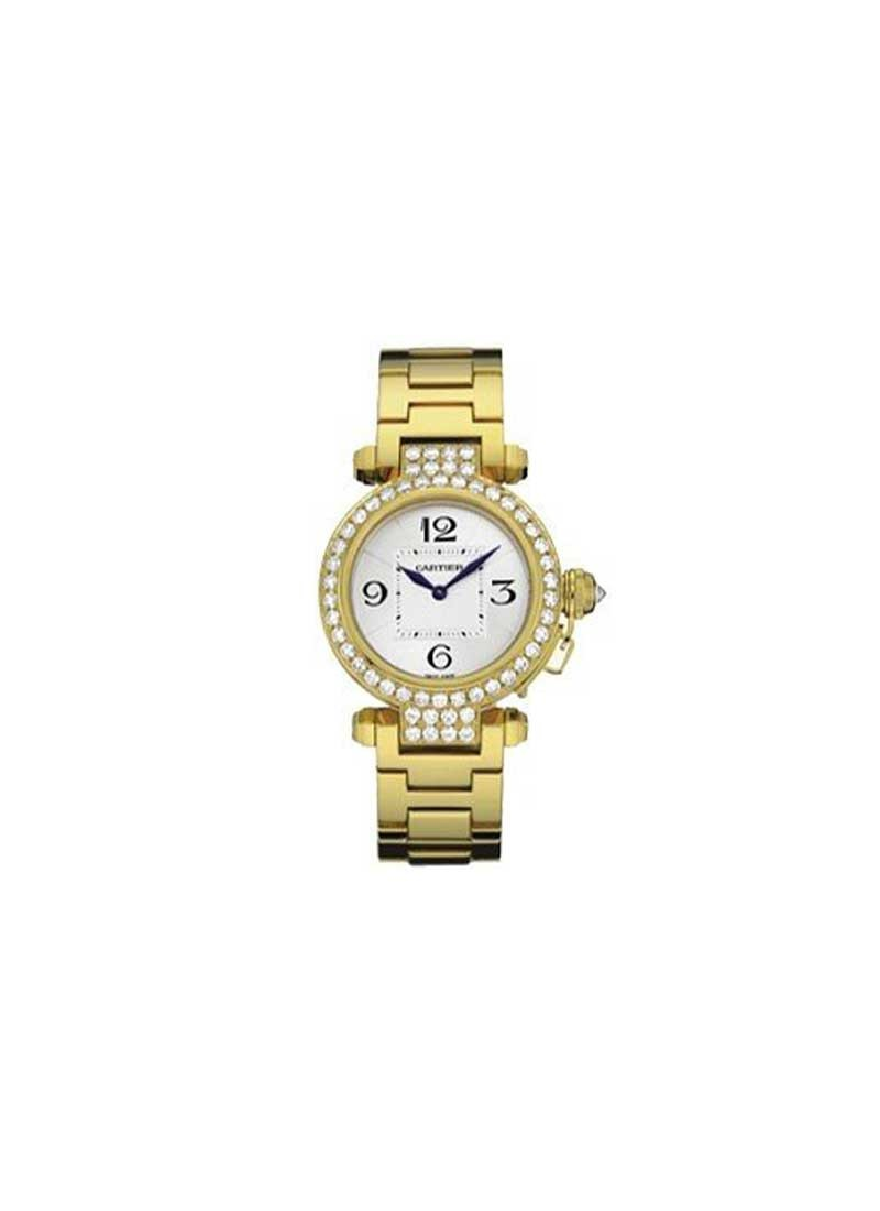 Cartier Pasha 32mm Quartz in Yellow Gold with Diamond Bezel