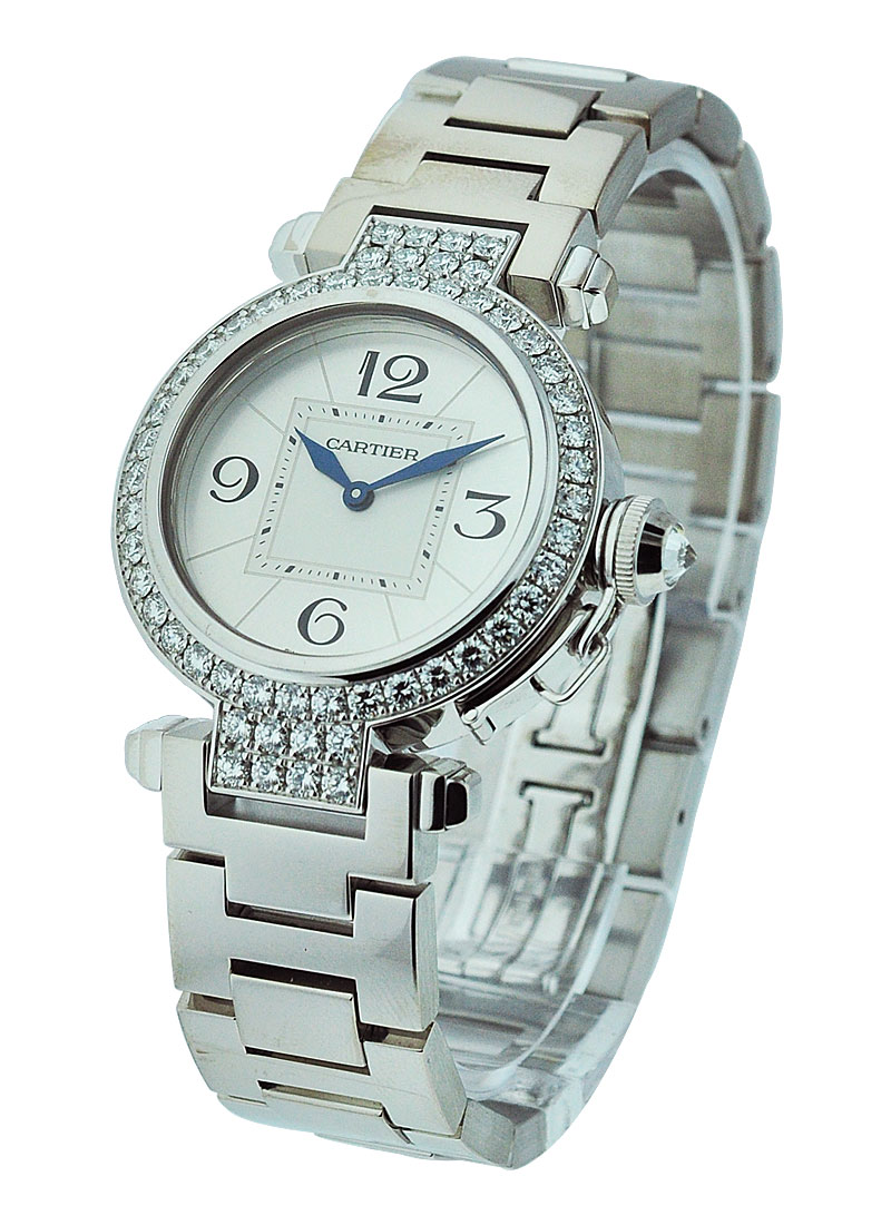 Cartier Pasha 32mm in White Gold with Diamond Bezel and Lugs