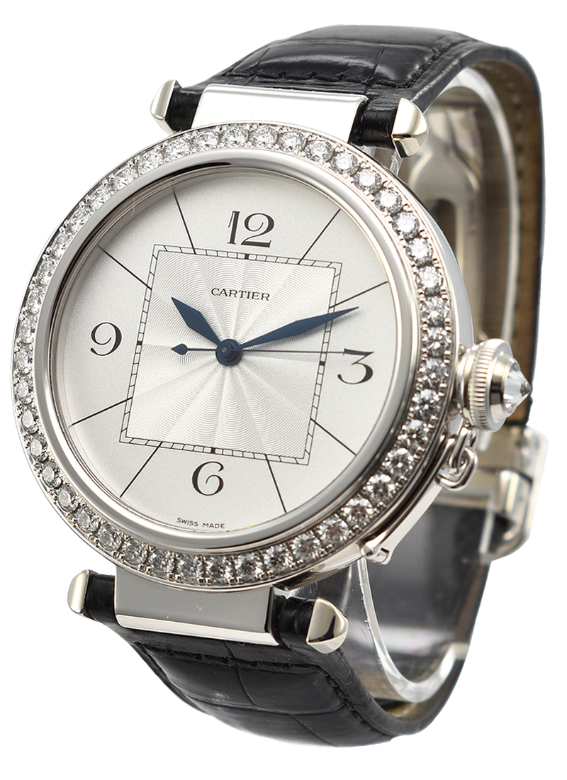 Cartier Pasha 42 in White Gold with Diamond Bezel