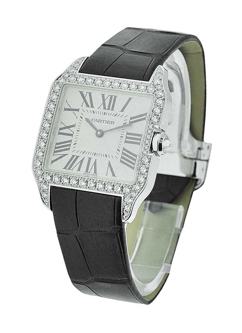 Cartier Santos Dumont - Ladies Quartz in White Gold - Diamonds