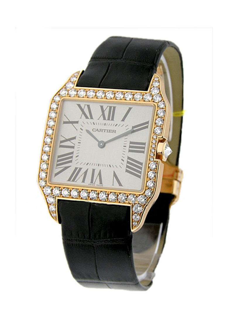 Cartier Santos Dumont w/Diamond Case - Large Size