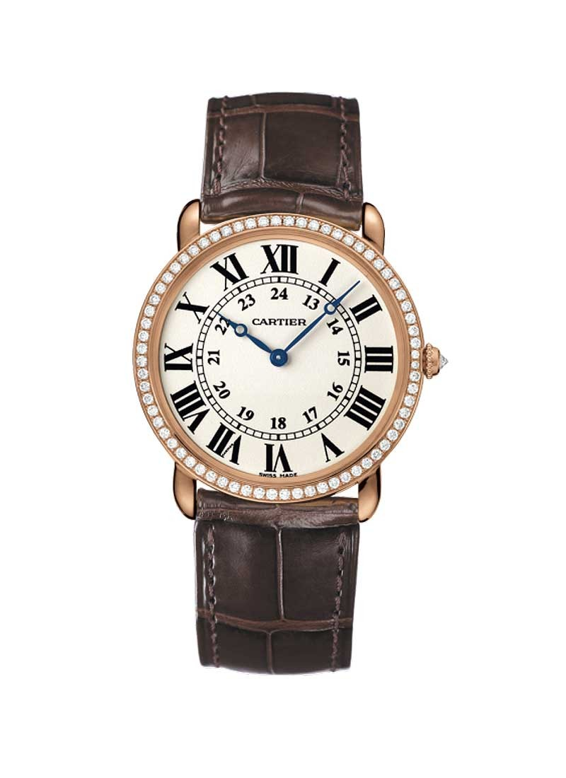 Cartier Ronde Louis Cartier in Rose Gold with Diamond Bezel