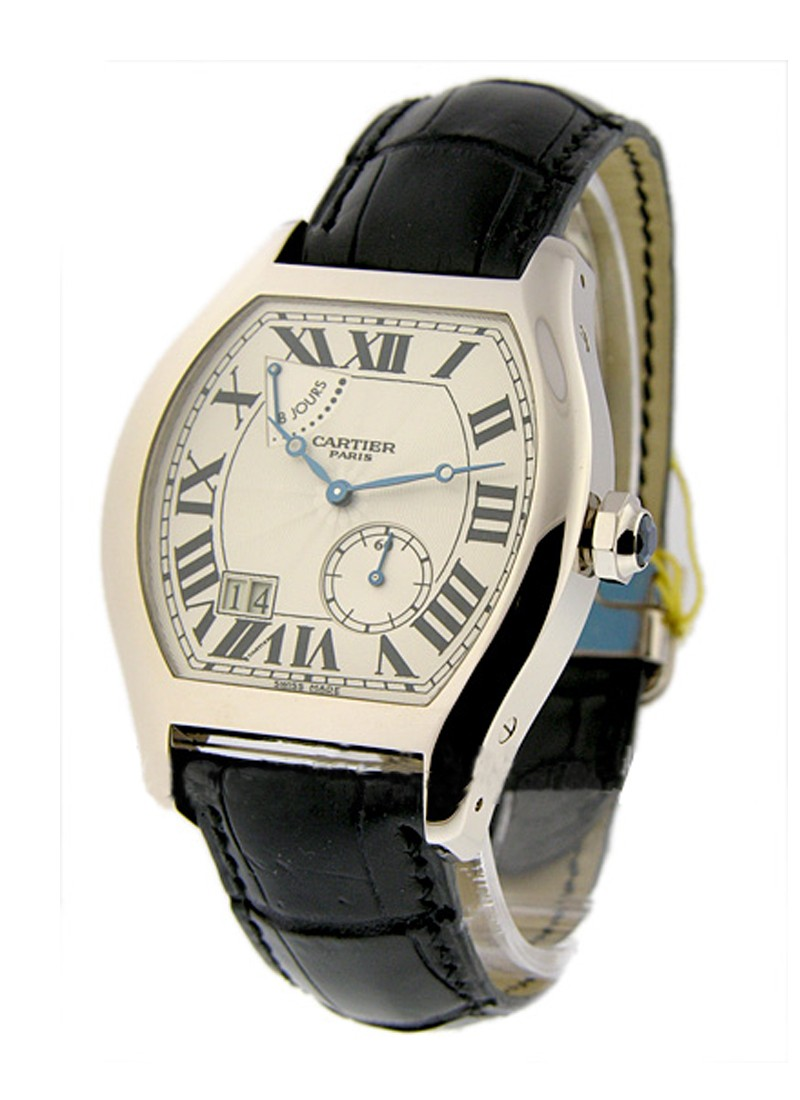 Cartier Tortue XL   8 Day Power Reserve in White Gold