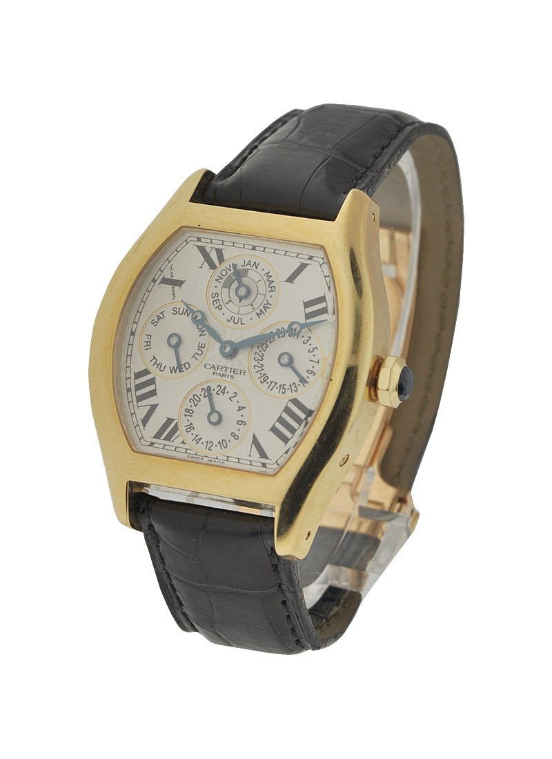 Cartier Tortue Two Time Zone Perpetual Calendar in Yellow Gold