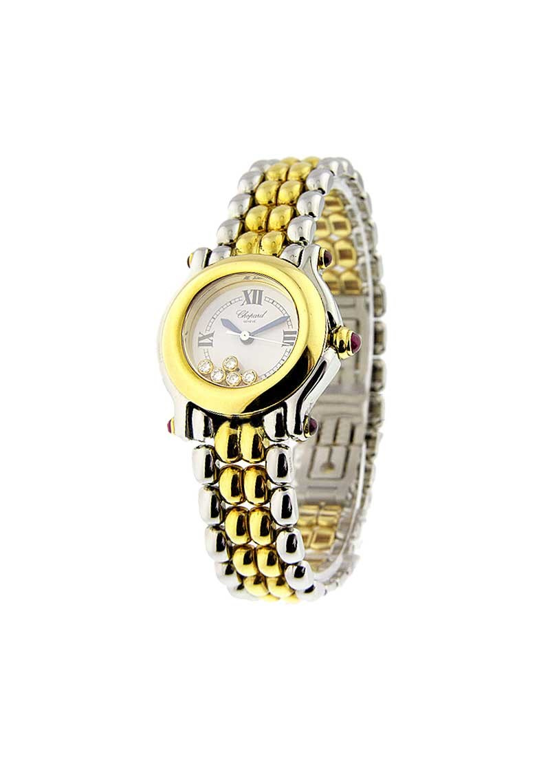 Chopard Happy Sport Round Small Size in Steel with Yellow Gold Bezel