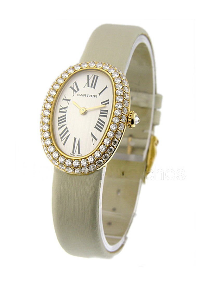 Cartier Baignoire in Yellow Gold with Diamond Bezel