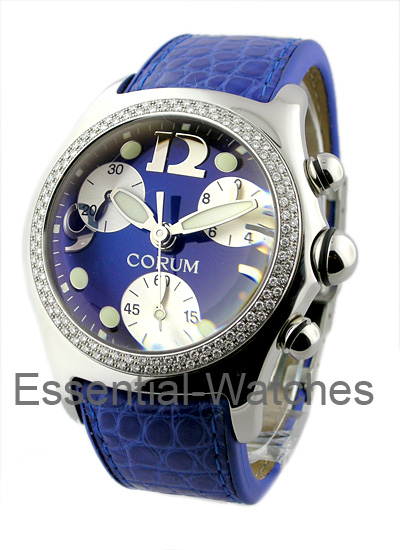 Corum Bubble Chronograph - Large Size in Steel with 2 Row Diamond Bezel